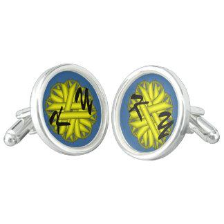 Yellow Flower Ribbon Cufflinks