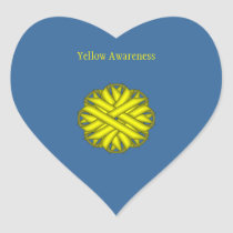 Yellow Flower Ribbon Heart Sticker