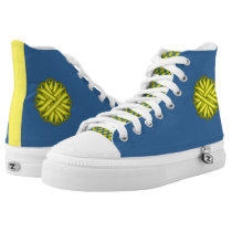 Yellow Flower Ribbon High-Top Sneakers