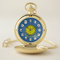 Yellow Flower Ribbon (Kf) by K Yoncich Pocket Watch