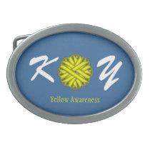 Yellow Flower Ribbon Oval Belt Buckle