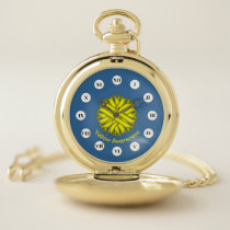 Yellow Flower Ribbon (Rf) by K Yoncich Pocket Watch