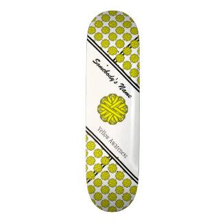 Yellow Flower Ribbon Skateboard Deck