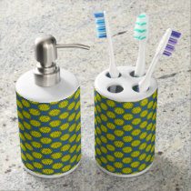 Yellow Flower Ribbon Soap Dispenser And Toothbrush Holder