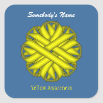 Yellow Flower Ribbon Square Sticker