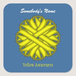Yellow Flower Ribbon Square Sticker