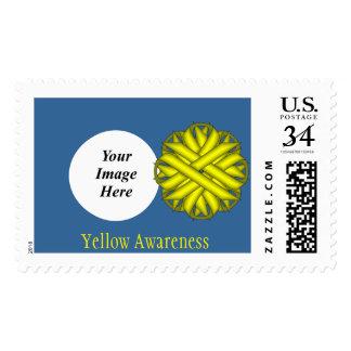Yellow Flower Ribbon Stamp