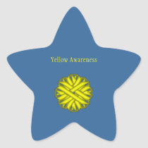 Yellow Flower Ribbon Star Sticker