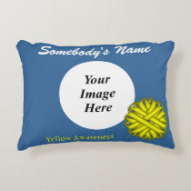 Yellow Flower Ribbon Template Accent Pillow