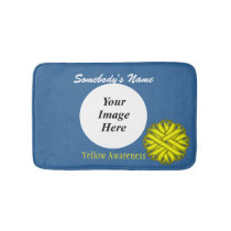 Yellow Flower Ribbon Template Bathroom Mat