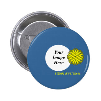Yellow Flower Ribbon Template Button
