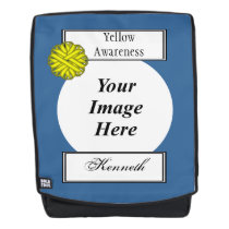 Yellow Flower Ribbon Template by Kenneth Yoncich Backpack