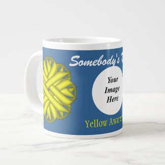 Yellow Flower Ribbon Template by Kenneth Yoncich Large Coffee Mug
