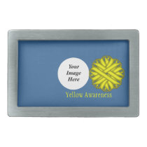 Yellow Flower Ribbon Template by Kenneth Yoncich Rectangular Belt Buckle