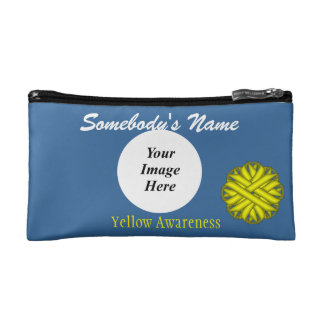 Yellow Flower Ribbon Template Cosmetic Bag
