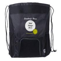Yellow Flower Ribbon Template Drawstring Backpack