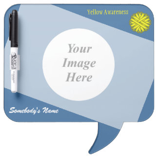 Yellow Flower Ribbon Template Dry-Erase Board