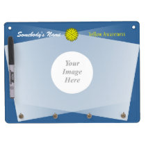 Yellow Flower Ribbon Template Dry Erase Board With Keychain Holder