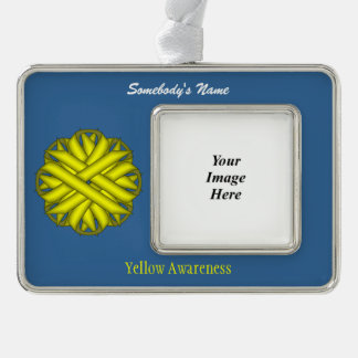 Yellow Flower Ribbon Template (H-O) Christmas Ornament