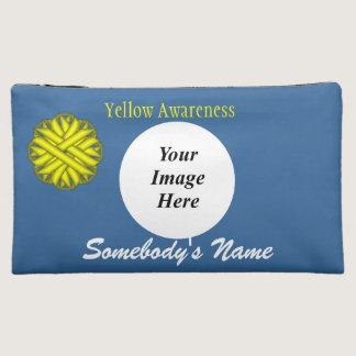 Yellow Flower Ribbon Template Makeup Bag