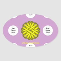 Yellow Flower Ribbon Template Oval Sticker