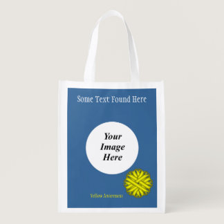 Yellow Flower Ribbon Template Reusable Grocery Bag