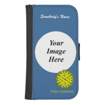 Yellow Flower Ribbon Template Samsung S4 Wallet Case