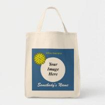 Yellow Flower Ribbon Template Tote Bag