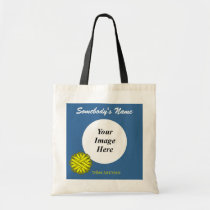 Yellow Flower Ribbon Template Tote Bag