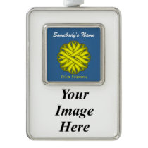 Yellow Flower Ribbon Template (V-I) Silver Plated Framed Ornament