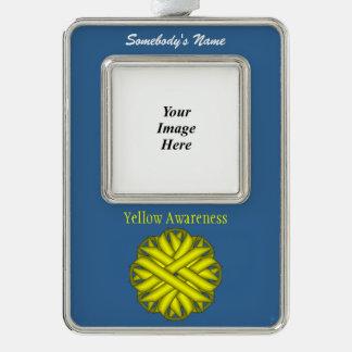 Yellow Flower Ribbon Template (V-O) Ornament