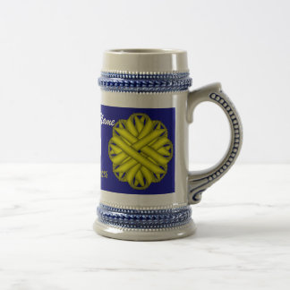 Yellow Flower Ribbon Tmpl by Kenneth Yoncich Beer Stein
