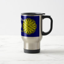 Yellow Flower Ribbon Tmpl by Kenneth Yoncich Travel Mug