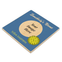Yellow Flower Ribbon Tmpl by Kenneth Yoncich Wooden Coaster