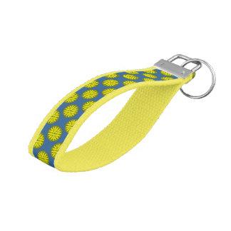 Yellow Flower Ribbon Wrist Keychain