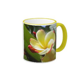 yellow flower ringer ceramic mug