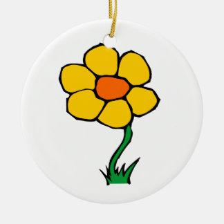 YELLOW FLOWER ROUND ORNAMENT