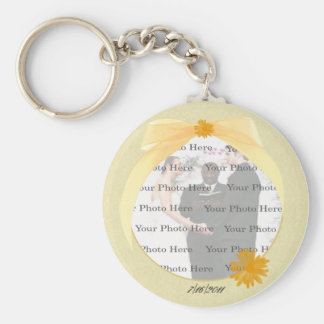 Yellow Flower Round Photo Key Chain
