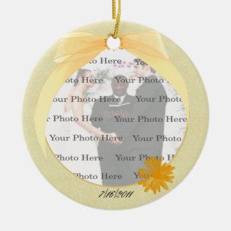 Yellow Flower Round Photo Ornament