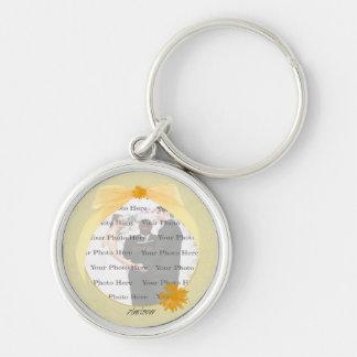 Yellow Flower Round Silver Photo Keychain