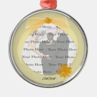 Yellow Flower Round Silver Photo Ornament