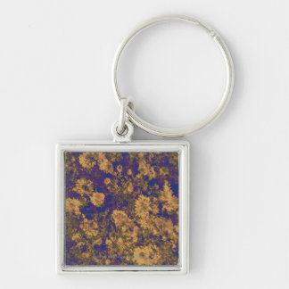 Yellow flower Silver-Colored square keychain