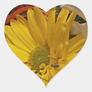 Yellow Flower Heart Sticker