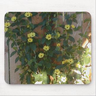 Yellow Flower Trellis Mouse Pad