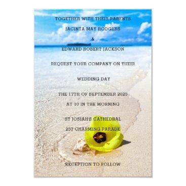 Beach Themed Yellow Flower Tropical Beach Wedding Card