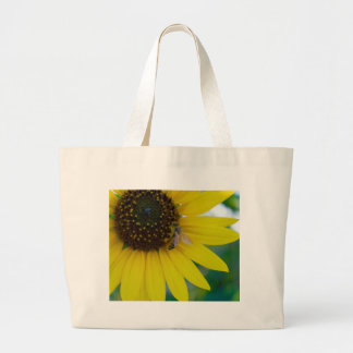 Yellow Flower with Bee Large Tote Bag