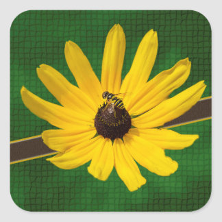 Yellow Flower with Bee on Green Background Sticker