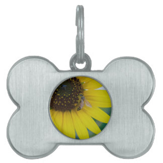 Yellow Flower with Bee Pet Tags