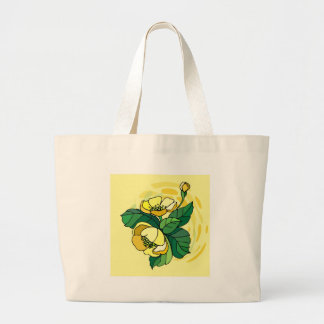 Yellow Flower With Beige Swirls Tote Bag
