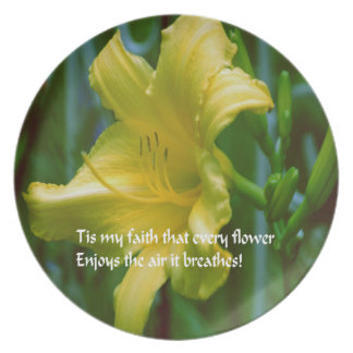 Yellow flower with inspirational quote plate